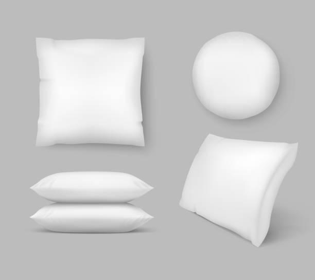 bildbanksillustrationer, clip art samt tecknat material och ikoner med realistiska bekväma kuddar. vektor 3d komfort fluffigt ren kudde-runda och fyrkantiga. isolerad utkast grafisk illustration - inflatable ring