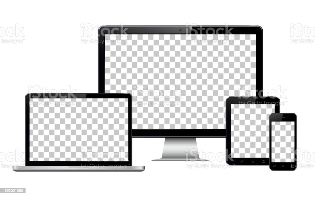 Realistic computer, laptop, tablet and mobile phone with transparent wallpaper screen isolated