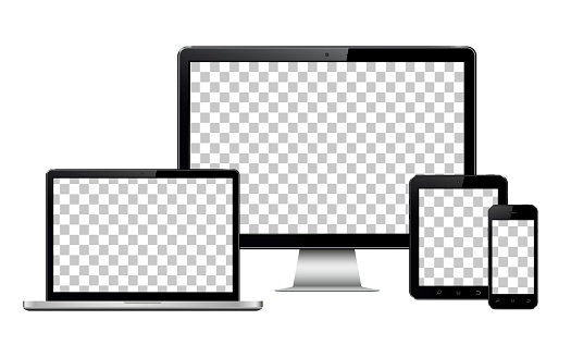 Realistic computer, laptop, tablet and mobile phone with transparent wallpaper screen isolated clipart