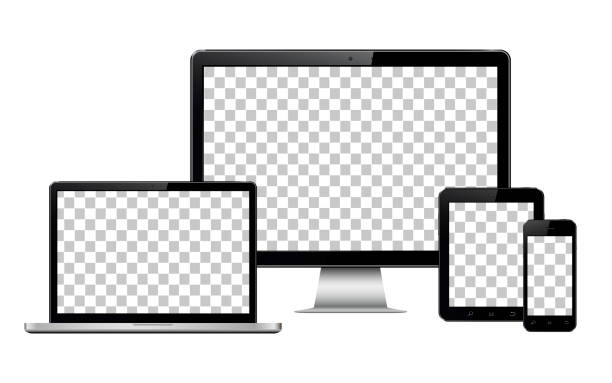 realistic computer, laptop, tablet and mobile phone with transparent wallpaper screen isolated - computer stock illustrations