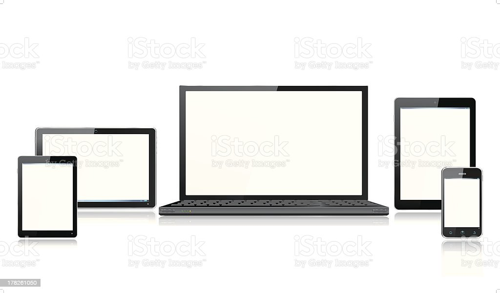 Realistic Computer Mobile Devices with Laptop Tablet and Smartphone royalty-free stock vector art