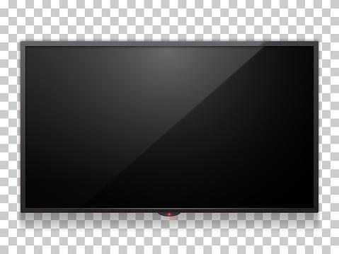 Realistic computer monitor display or smart TV mock up vector illustration.