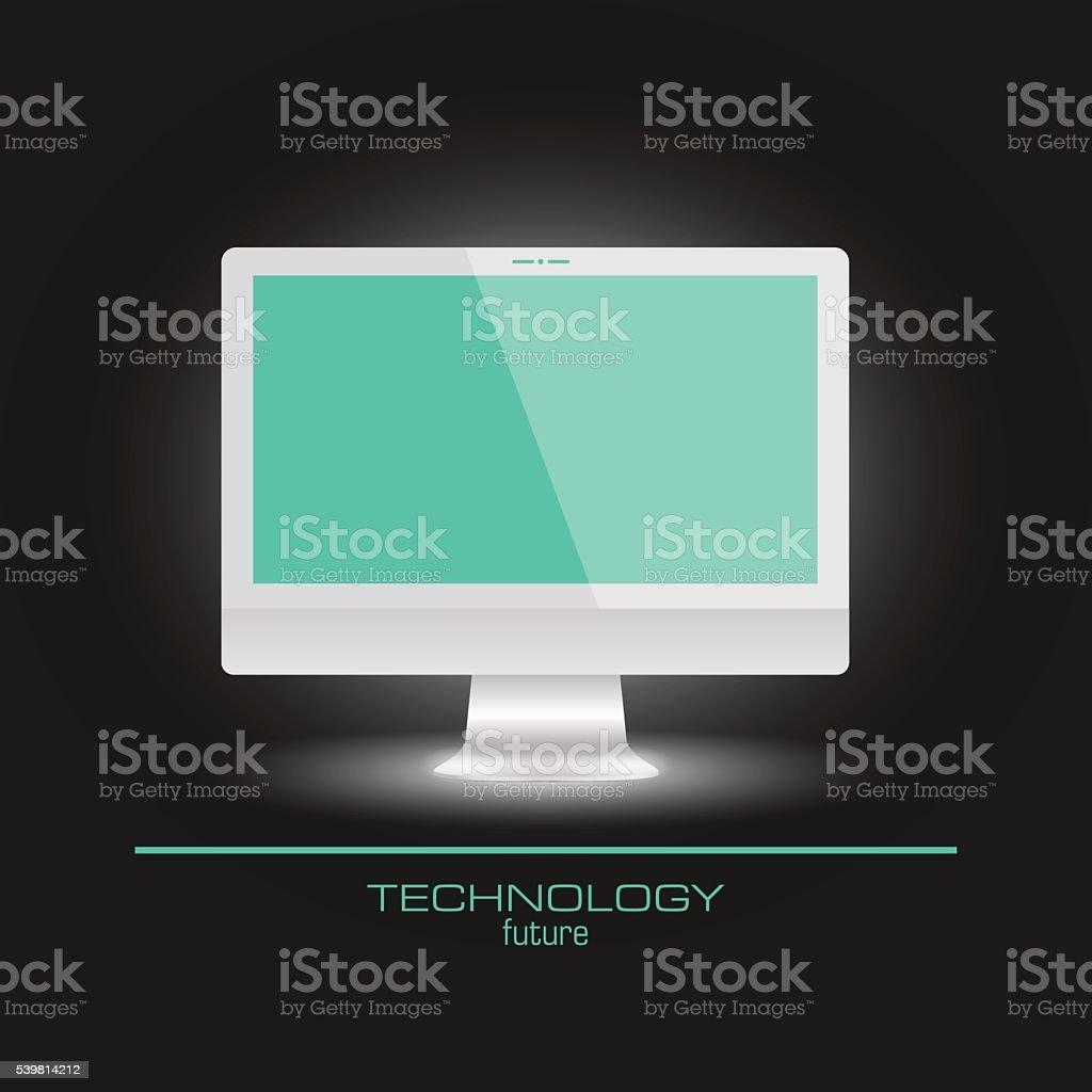 Realistic computer monitor empty screen vector art illustration