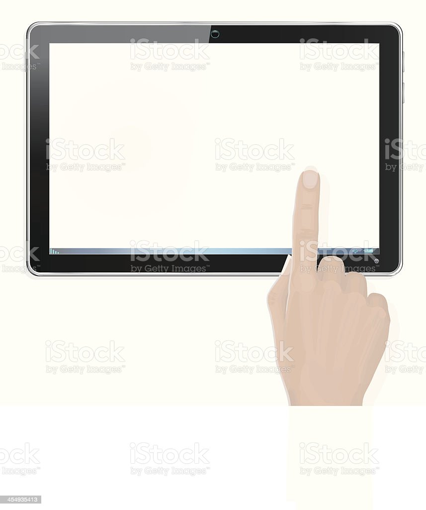 Realistic Computer Tablet with Hand and Finger Pointing vector art illustration
