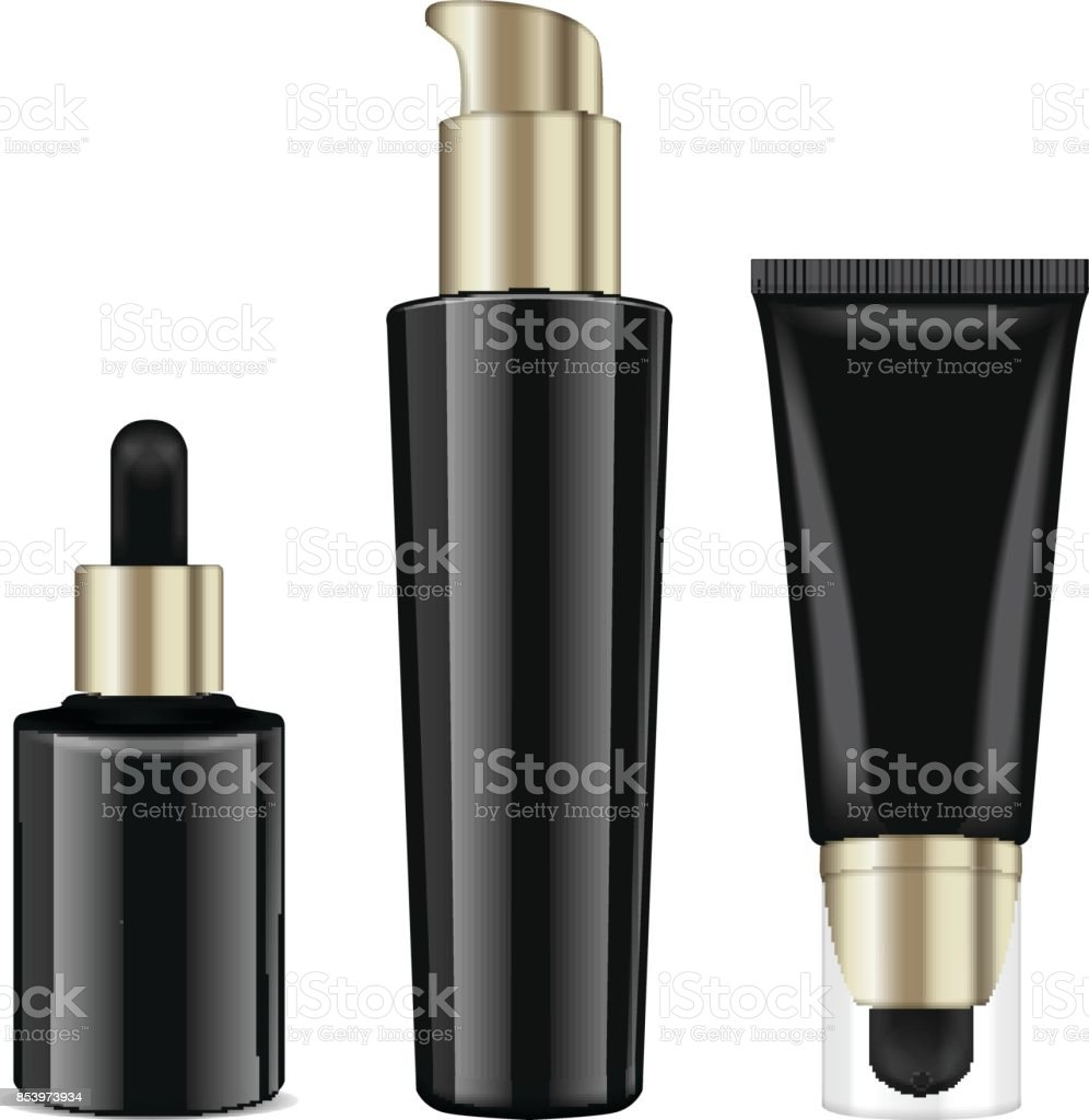 Realistic cosmetic black bottles with gold caps. Vector containers and tubes for cream, lotion, gel, balsam, foundation cream. 3d Illustration vector art illustration