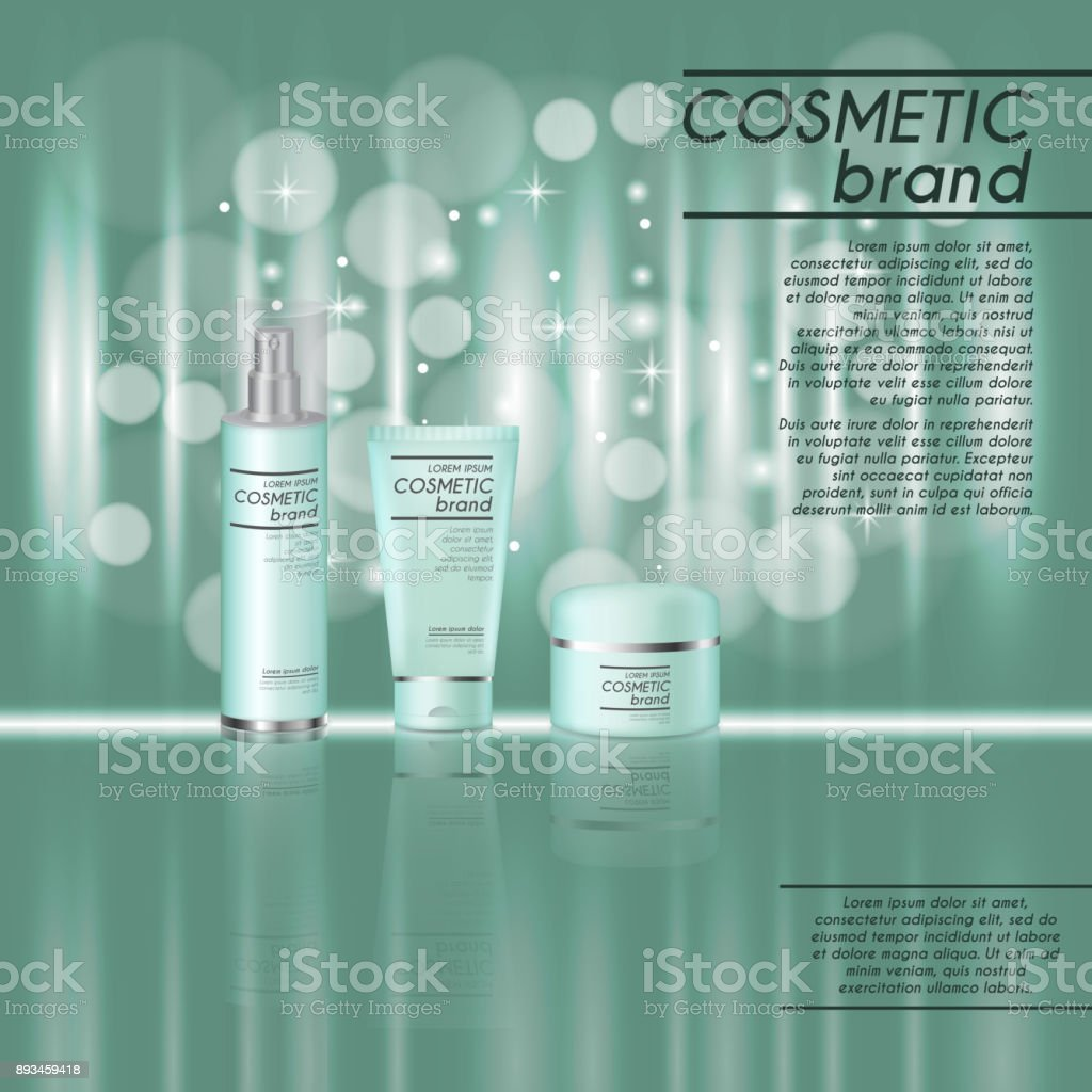 3D realistic cosmetic bottle ads template. Cosmetic brand advertising concept design with glitters and bokeh background vector art illustration