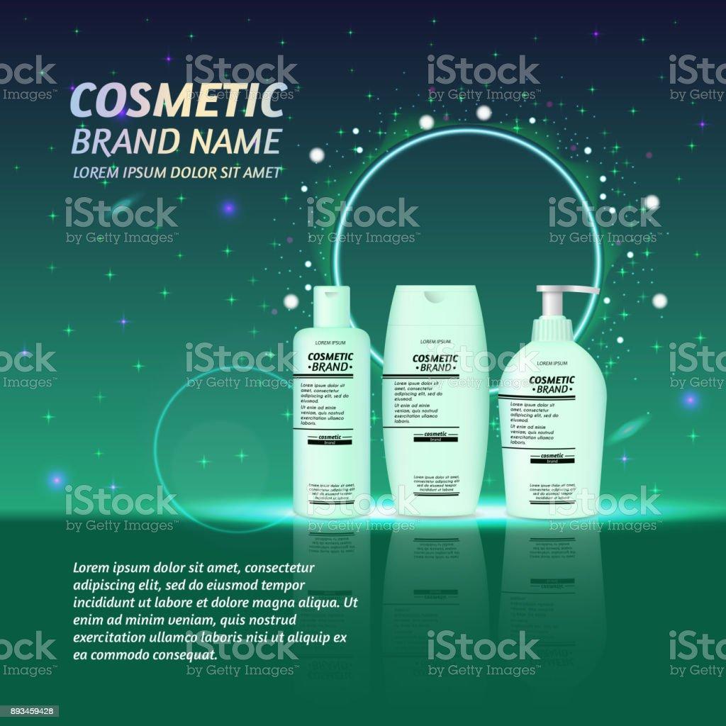 3 d のリアルな化粧品ボトルの広告テンプレートきらめきと輝きの抽象的な