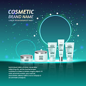 3D realistic cosmetic bottle ads template. Cosmetic brand advertising concept design with glitters and sparkles abstract sky background.
