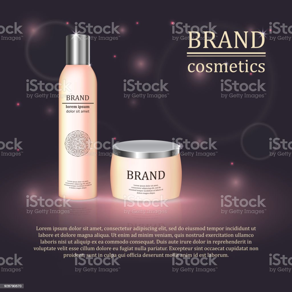 3D realistic cosmetic bottle ads template. Cosmetic brand advertising...