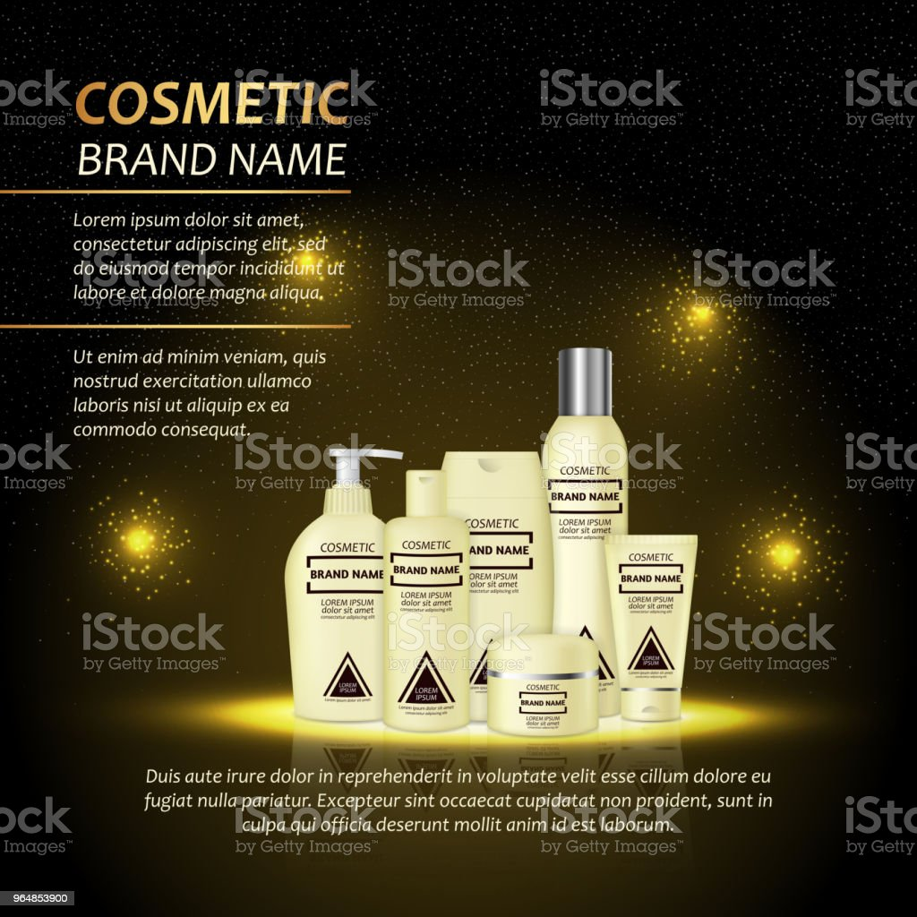 3D realistic cosmetic bottle ads template. Cosmetic brand advertising concept design with abstract glowing lights and sparkles background royalty-free 3d realistic cosmetic bottle ads template cosmetic brand advertising concept design with abstract glowing lights and sparkles background stock vector art & more images of advertisement