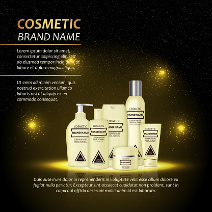3d Realistic Cosmetic Bottle Ads Template Cosmetic Brand Advertising Concept Design With Abstract Glowing Lights And Sparkles Background Stock Illustration - Download Image Now