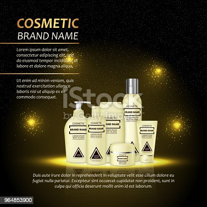 3d Realistic Cosmetic Bottle Ads Template Cosmetic Brand Advertising Concept Design With Abstract Glowing Lights And Sparkles Background Stock Vector Art & More Images of Advertisement 964853900