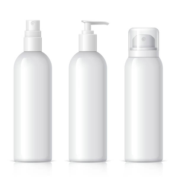 Realistic Cosmetic bottle can sprayer container. Set of cosmetic products on a white background. Cosmetic package collection for cream, soups, foams, shampoo, glue. Object, shadow, and reflection on separate layers. vector illustration. aerosol can stock illustrations