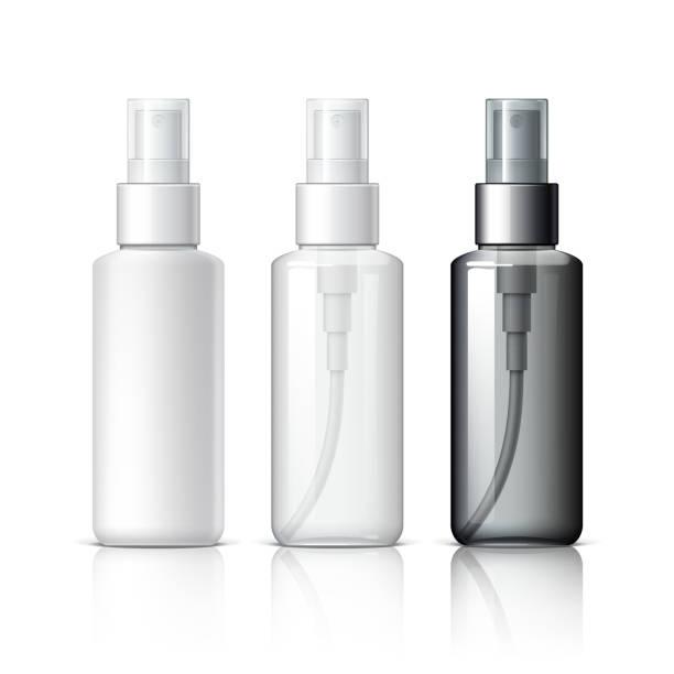 illustrazioni stock, clip art, cartoni animati e icone di tendenza di realistic cosmetic bottle can sprayer container. - spruzzo profumo
