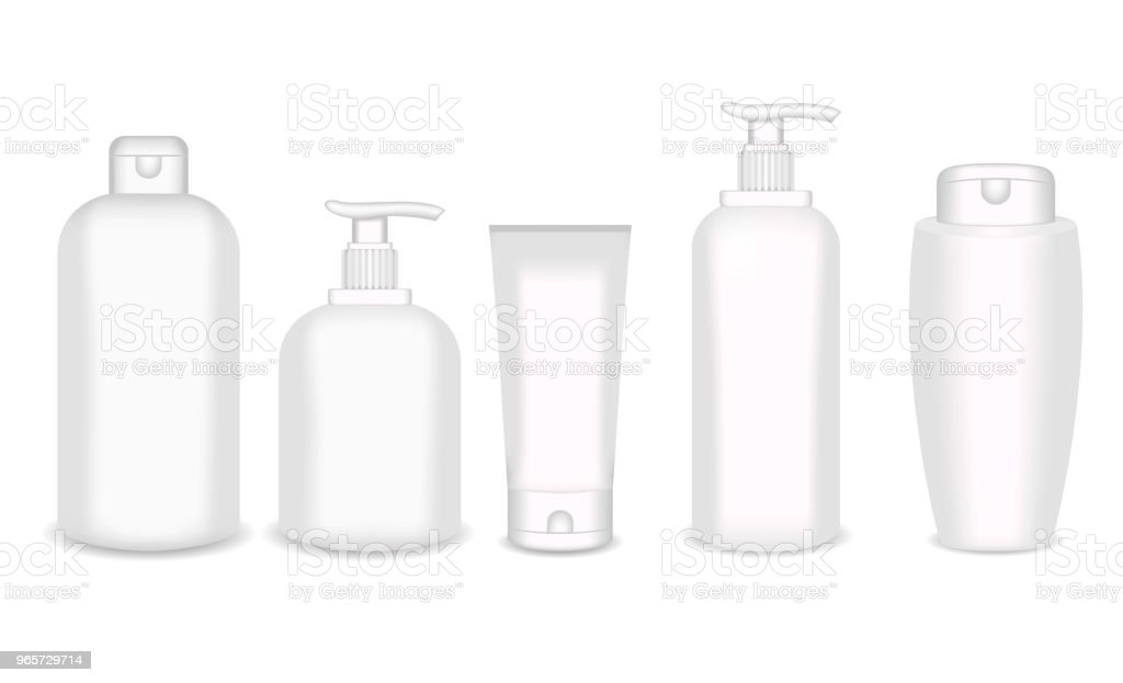 Realistic cosmetic bottle mock up set isolated pack on white background. Cosmetic brand template. Shampoo pack - Royalty-free Advertisement stock vector