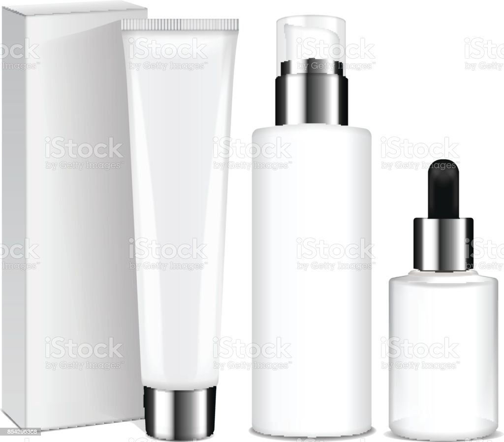 Realistic cosmetic bottles with silver caps. Vector containers and tubes for cream, lotion, gel, balsam, foundation cream. 3d Illustration vector art illustration
