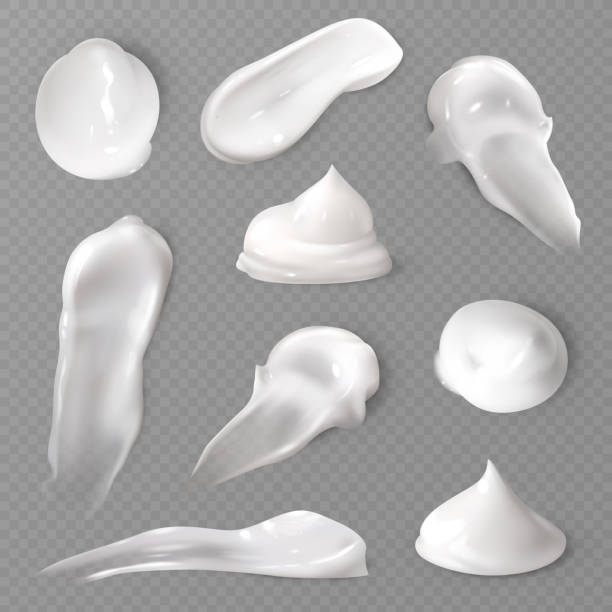 realistic cosmetic cream smears. white creamy drop skincare cream product lotion thick fresh smooth smear vector texture - sun cream stock illustrations