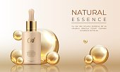 3D realistic cosmetic mockup. Skin care oil, collagen. Vector illustration of essence beauty drops template for branding concept silk glow facial skin
