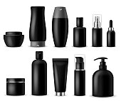 Realistic cosmetic mockups. Black cosmetics bottle, container and jar. Women beauty products. Spray, soap and cream 3d vector package