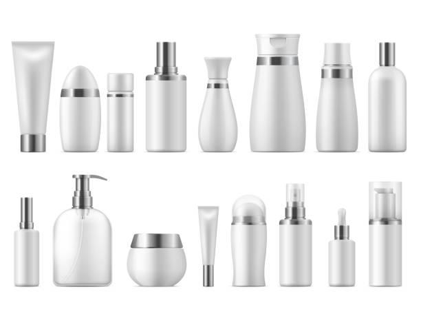 リアルな化粧品パッケージ。美容化粧品空の白い3d パックのスパ化粧品ブランクモックアップ。ベクターデザインテンプレート - 美容室 3d点のイラスト素材/クリップアート素材/マンガ素材/アイコン素材