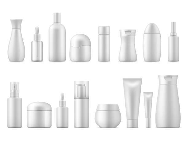 Realistic cosmetic package. White product bottle plastic lotion shampoo spray container blank 3D tube pack dispenser template Realistic cosmetic package. White product bottle plastic lotion shampoo spray container blank 3D tube pack dispenser vector template bottle stock illustrations