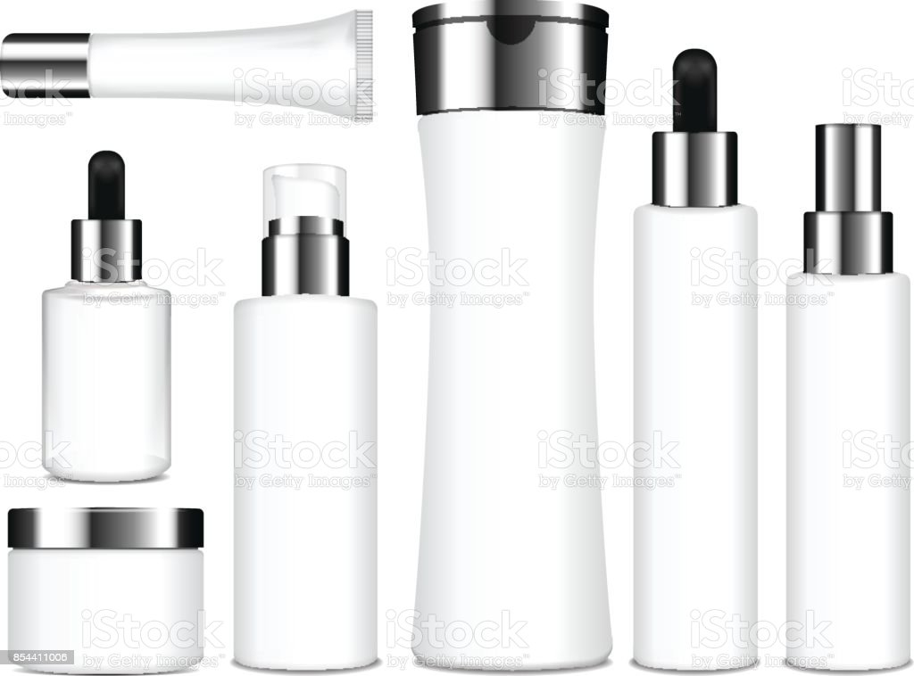 Realistic cosmetic white bottles. Vector containers, tubes, sashet for cream, balsam, lotion, gel, shampoo, foundation cream. 3d Illustration vector art illustration