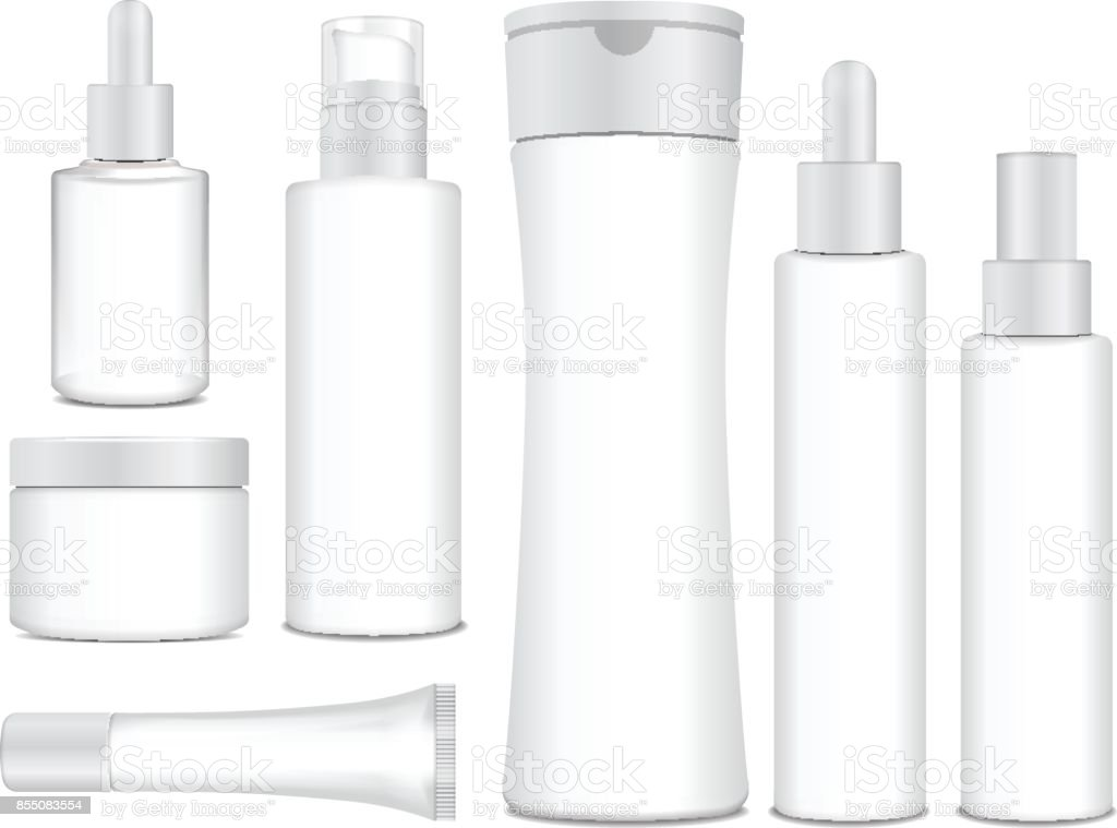 Realistic cosmetic white vector bottles. Vector containers, tubes, sashet for cream, balsam, lotion, gel, shampoo, foundation cream. 3d Illustration vector art illustration