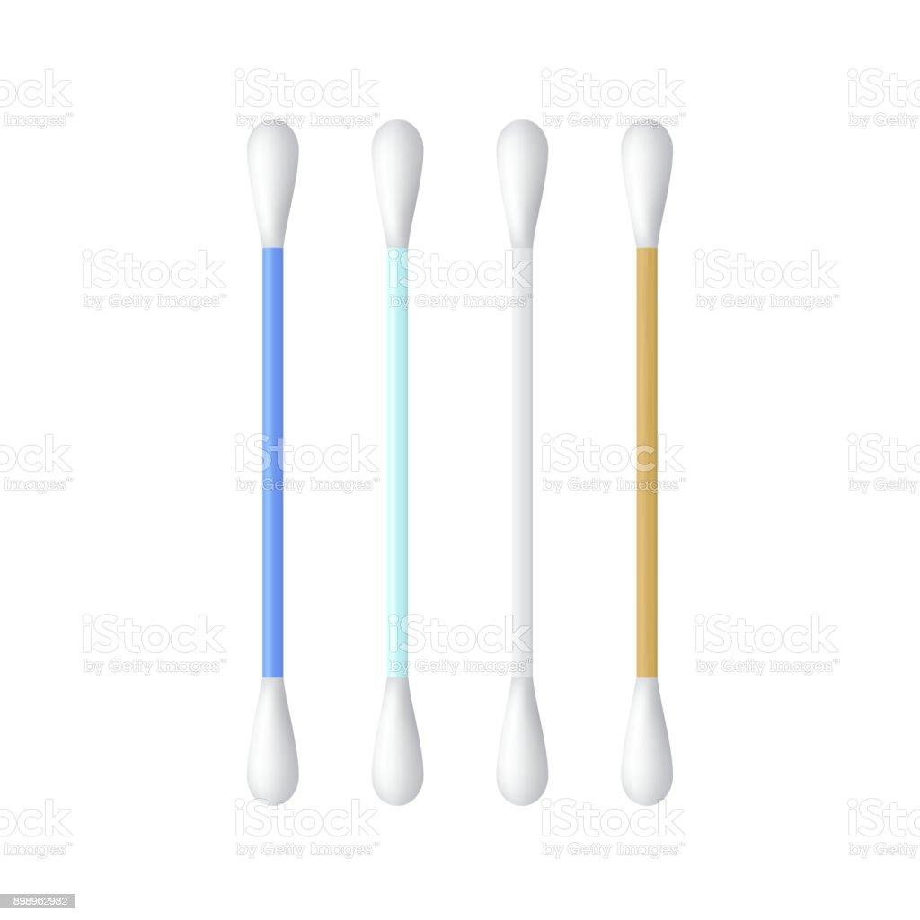 Realistic cotton ear swab set. Vector illustration. vector art illustration