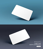 A realistic business credit / gift card placeholder mockup stationary layout with shadow effects. Vector illustration