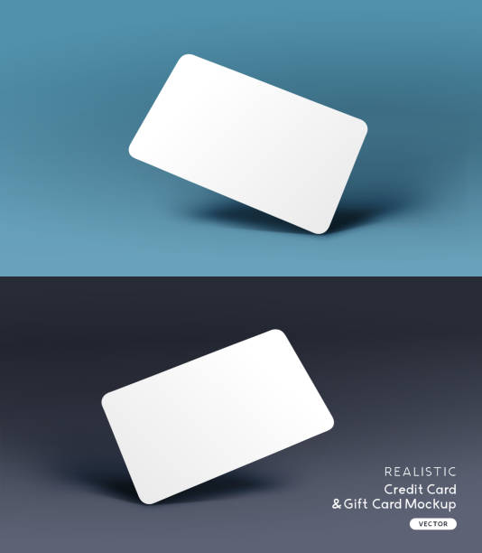 realistic credit card mockup template vector - business cards templates stock illustrations