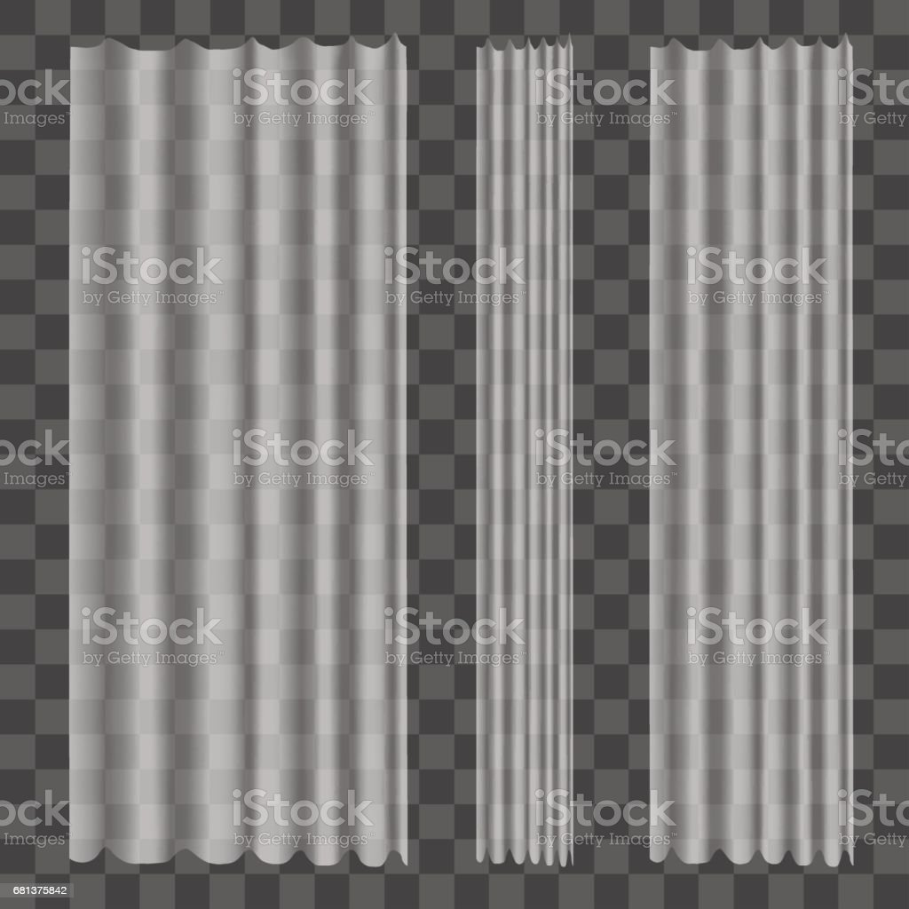 Realistic Curtains on Transparent Background. Vector vector art illustration