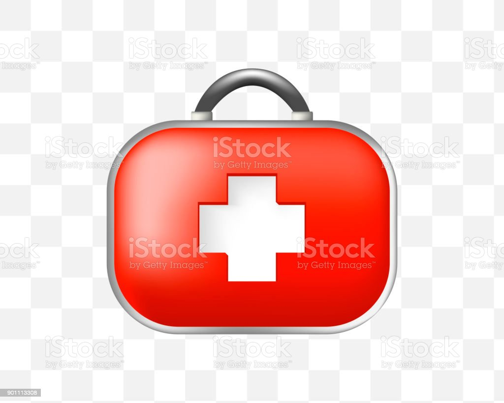 Realistic Cute First Aid Kid Icon On Transparent Background