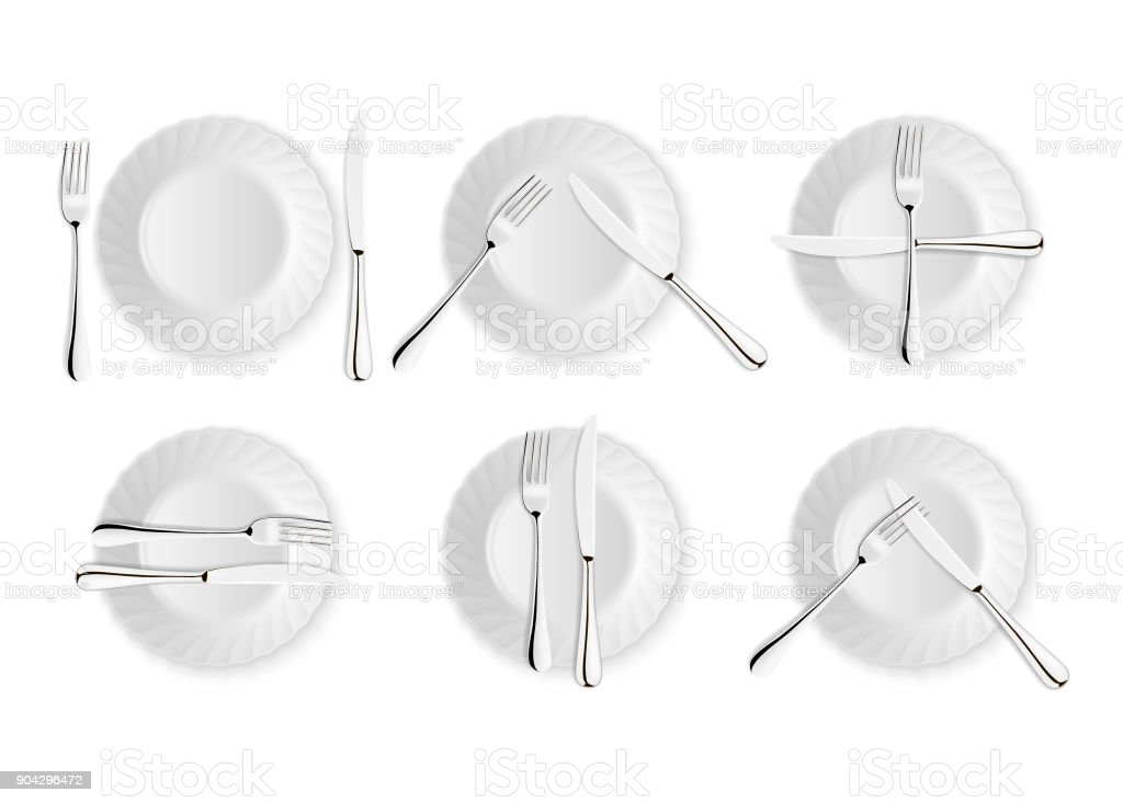 Realistic cutlery and signs of table etiquette vector icons isolated on white background. Fork  sc 1 st  iStock & Realistic Cutlery And Signs Of Table Etiquette Vector Icons Isolated ...