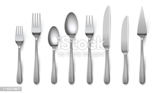 Realistic cutlery. Silverware fork knife spoon isolated on white background, stainless steel tableware flatware. Vector metal top view cutlery