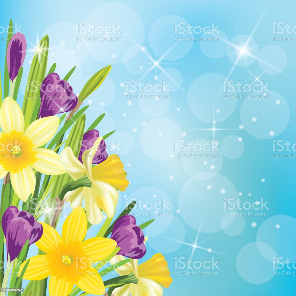 Realistic daffodil and spring flowers background border stock vector realistic daffodil and spring flowers background border royalty free realistic daffodil and spring flowers background mightylinksfo