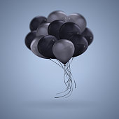 3D realistic Dark Color Balloons Vector Clipart Illustration