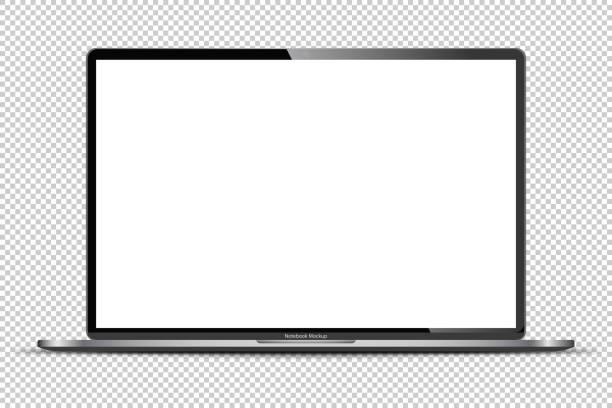 ilustrações, clipart, desenhos animados e ícones de notebook cinza escuro realista com tela transparente isolada. laptop de 16 polegadas. exibição aberta. - laptop