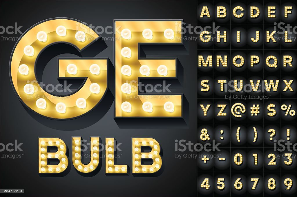 Realistic dark lamp alphabet for light board vector art illustration
