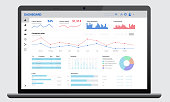 istock Realistic dark laptop mock up with analytics dashboards. Charts and graph. Business, financial and digital marketing account administrative panel. 1221353943