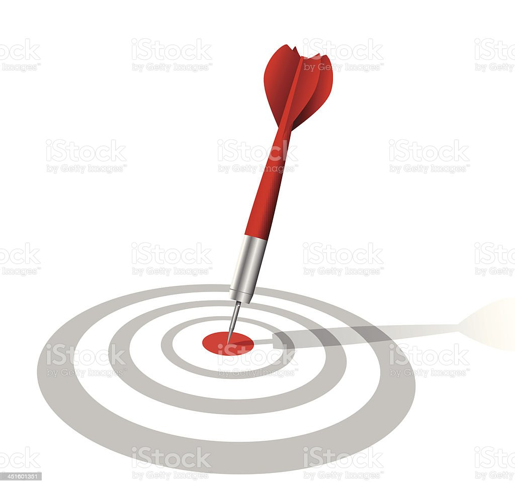 realistic darts target with shadow vector art illustration