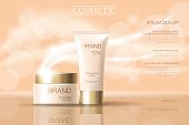 Realistic delicate cosmetic ads banner template. 3d detailed beige tube golden design commercial promotional element. Defocused blurry glowing wave background vector illustration art