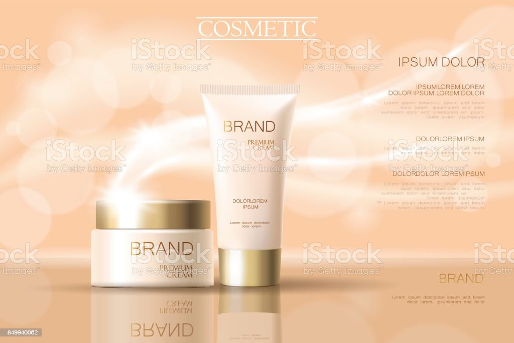 Realistic delicate cosmetic ads banner template. 3d detailed beige tube golden design commercial promotional element. Defocused blurry glowing wave background vector illustration vector art illustration