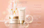Realistic delicate cosmetic ads banner template. 3d detailed beige tube golden design commercial promotional element. Defocused essential oil drop wave background vector illustration