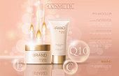 Realistic delicate cosmetic ads banner template. 3d detailed beige tube golden design commercial promotional element. Defocused essential oil drop wave background vector illustration