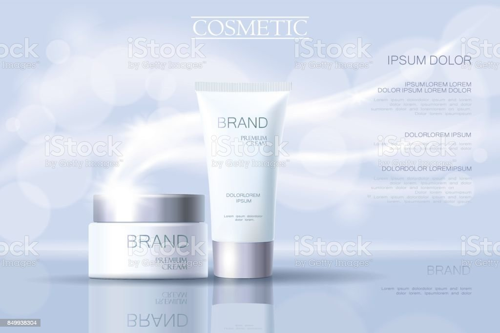 Realistic delicate cosmetic ads banner template. 3d detailed light blue tube metallic silver design commercial promotional element. Defocused blurry glowing wave background vector illustration vector art illustration