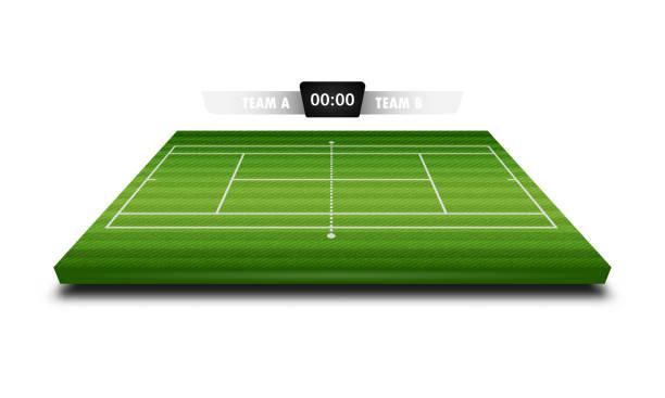 realistische denim textur tennis feld 3d mit anzeigetafel für element-vektor-illustration-design-konzept - wimbledon stock-grafiken, -clipart, -cartoons und -symbole