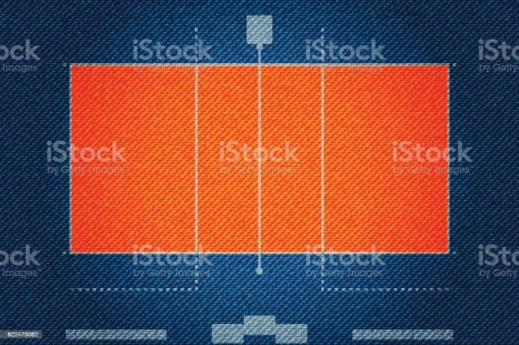 Realistic Denim texture of Volleyball court field element vector illustration design concept vector art illustration