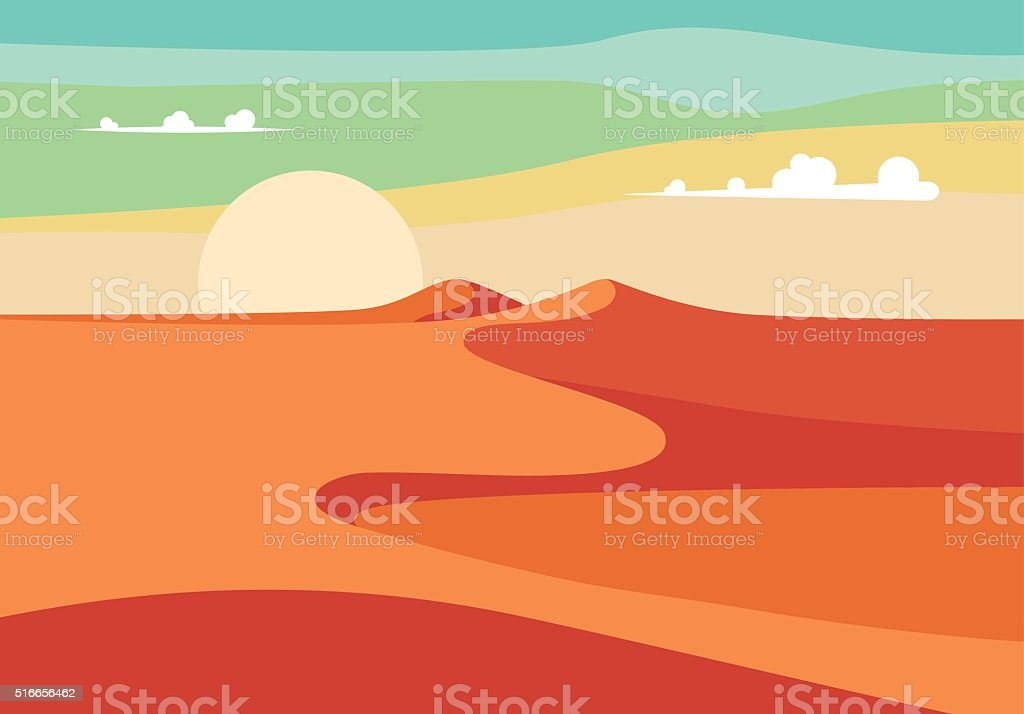 Realistic Desert Sands in Middle East. Editable Vector Illustration vector art illustration