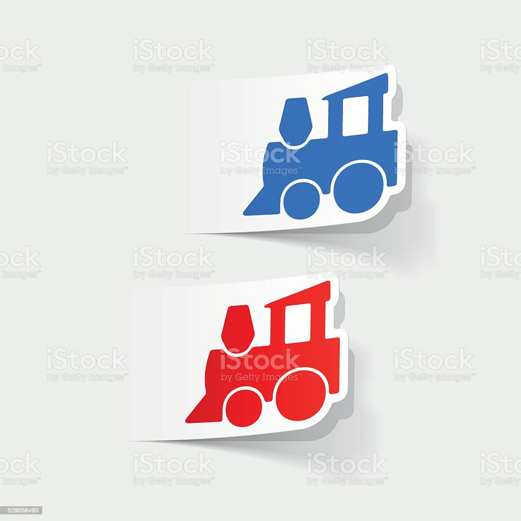 realistic design element: childrens train vector art illustration