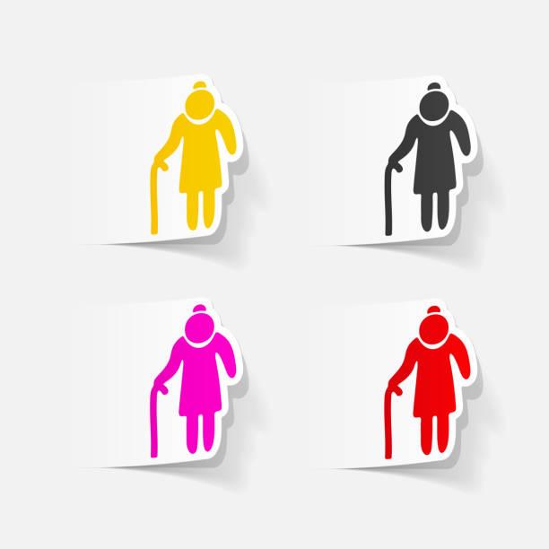 illustrazioni stock, clip art, cartoni animati e icone di tendenza di realistic design element: grandma - holiday and invoice family